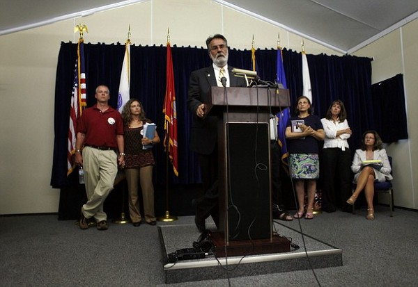 Gordon Haberman, who lost his daughter in the Sept. 11, 2001 attacks, speaks during a news during a news conference held by family members of victims of the attacks, at Camp Justice, the site of the U.S. war crimes tribunal compound, at Guantanamo Bay U.S. Naval Base, Cuba, July 16, 2009, in this photo reviewed by the U.S. military. The five men accused of the Sept. 11 attacks on the United States disrupted and delayed the Guantanamo war court on Thursday when they refused to leave their cells for a hearing at the remote U.S. military base in Cuba where they are held