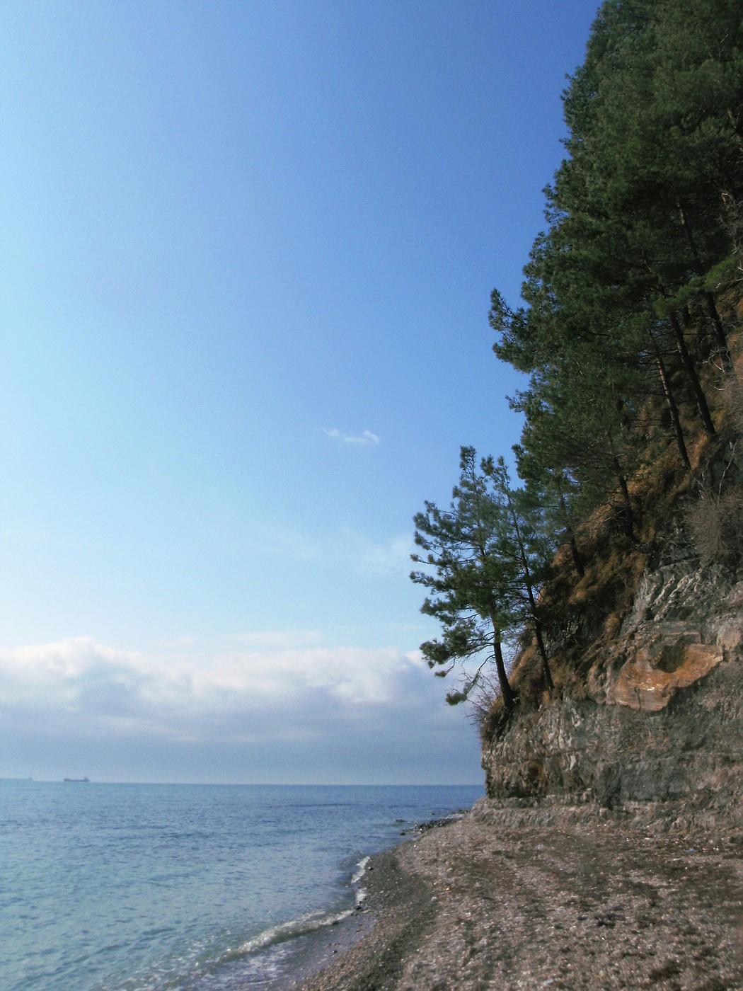 Stony beach of the Black Sea