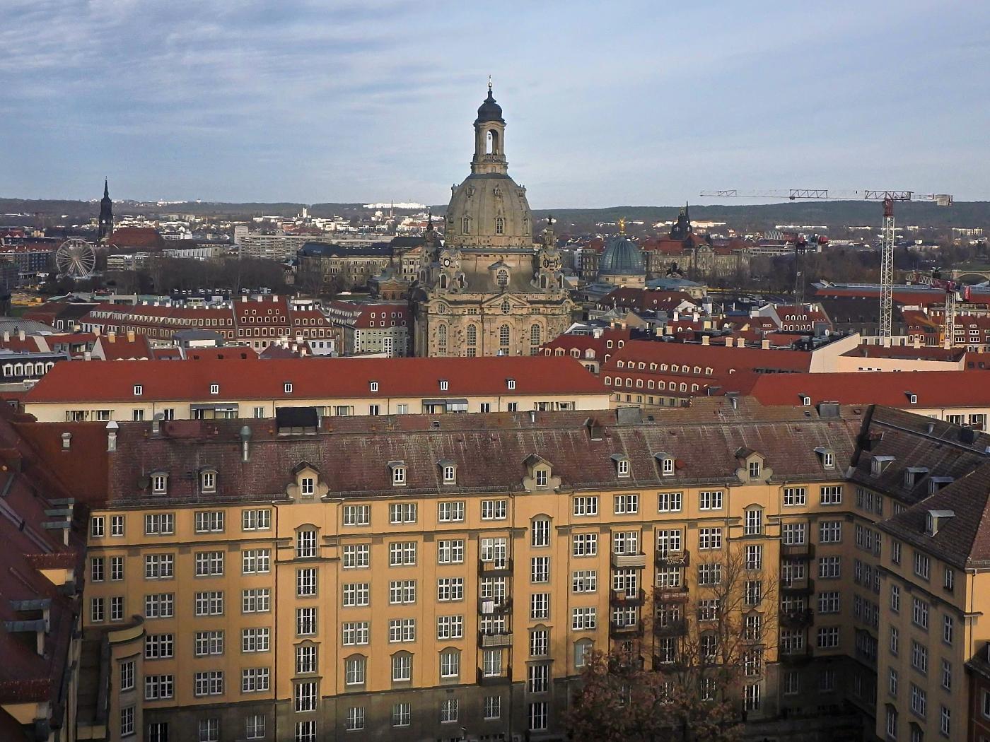 Blick von der Kreuzkirche zur Frauenkirche